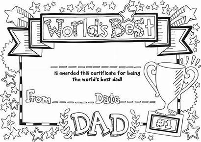 Certificate Colouring Dad Father Worlds Fathers Coloring
