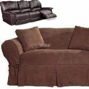 dual reclining sofa couch slipcover suede chocolate brown With dual reclining sofa couch slipcover