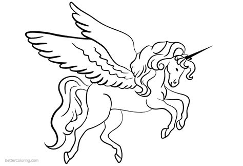 unicorn coloring pages  wings  printable coloring pages