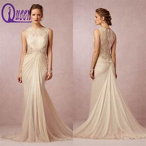 2014 elegant cap sleeve champagne colored vintage lace for Champagne colored wedding dress