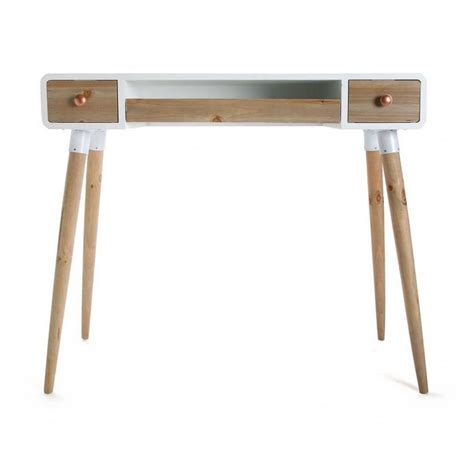 bureau bois et blanc table bureau console avec tiroirs design scandinave bois
