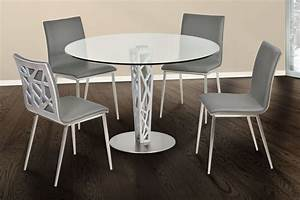 Crystal 48quot Brushed Stainless Steel Round Dining Room Set