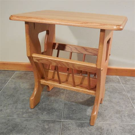 magazine rack table solid oak bell cutout country magazine rack end table 16