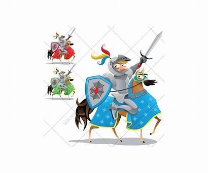Medieval Knight Cartoon Horse Dragon Castle Character