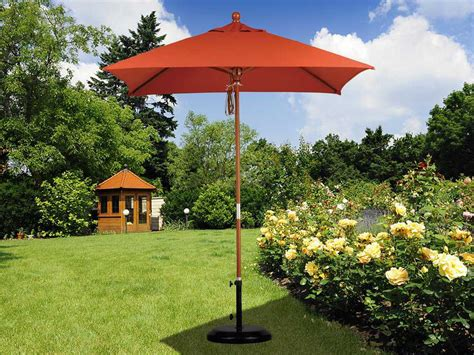 California Umbrella 6 Foot Square Wood Patio Umbrella