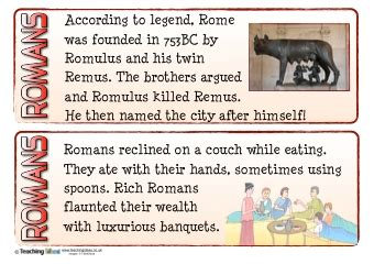 romans fact cards teaching ideas