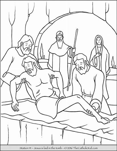 Stations Jesus Cross Coloring Tomb Pages Drawing