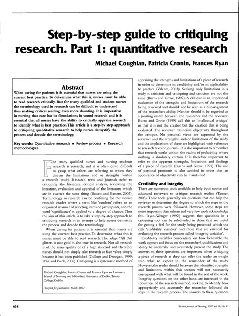 (pdf) Stepbystep Guide To Critiquing Research Part 1 Quantitative Research