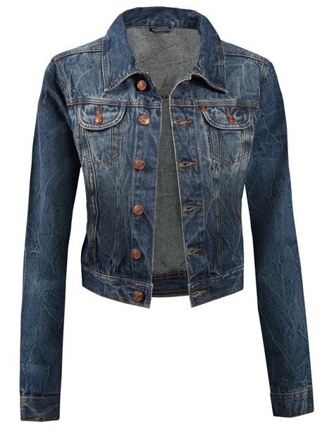 le3no womens vintage cropped denim jacket from le3no