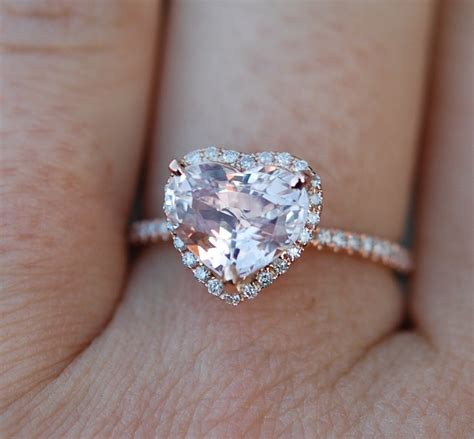 engagement ring heart sapphire rose gold ring 2 25ct heart