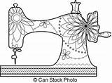Sewing Machine Vector Coloring Clipart Clip Illustration Textile Factory Illustrations Graphics Marish Silhouette Canstockphoto sketch template
