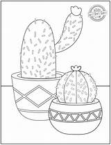 Coloring Flower Cactus Flowers Pretty Atop Prickly Sitting These Pots sketch template