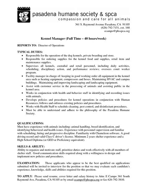 best photos of kennel attendant resume kennel technician resume sle kennel attendant cover