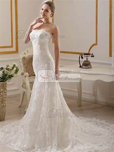 Slimming mermaid sweetheart court train lace wedding for Slimming wedding dresses