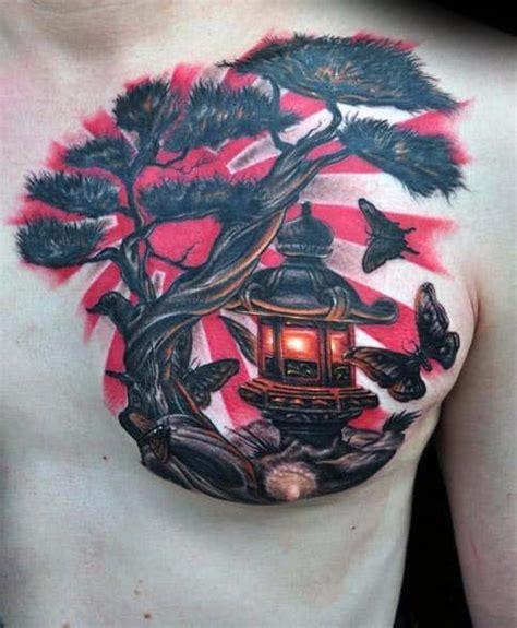 tattoo japanese tattoos tree sun rising bonsai chest designs lantern butterflies ink flag tatoo behind mens samurai flying tattooswin tweet
