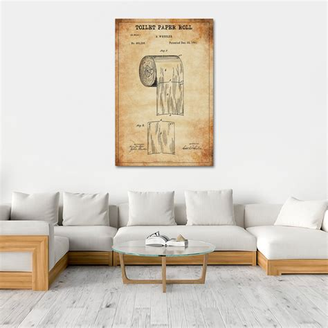 Such a wonderful addition to any lakehouse or fishing cabin bathroom! Toilet Paper Roll Patent Canvas Wall Art   ElephantStock