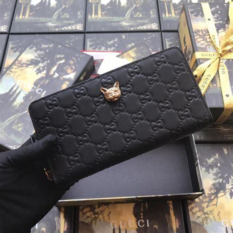 replica gucci  signature zip  women wallet  cat black