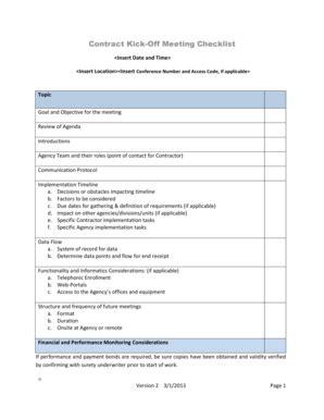 project kick  meeting agenda fill  print