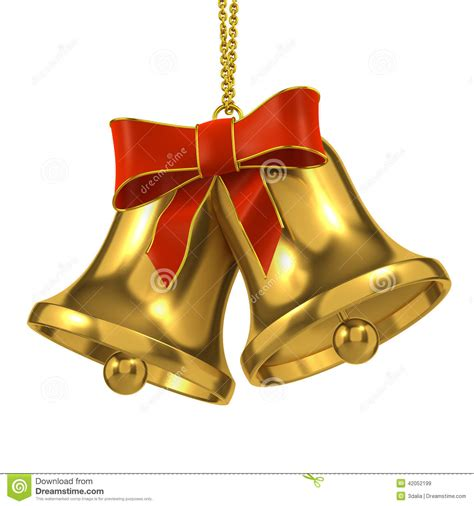 christmas bells bow ribbon 3d gold bells with red ribbon and bow stock illustration image 42052199