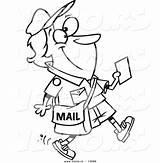 Cartoon Mail Coloring Woman Vector Walking Happy Message Outlined Holding Leishman Ron Royalty sketch template