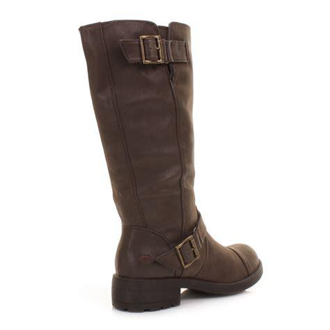 womens brown biker boots womens rocket dog terry brown vintage knee high ladies