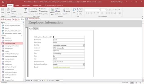 Create Resume Database Access by Ms Access Macros Tutorialspoint