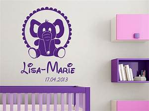 Wandtattoo Elefant Kinderzimmer : wandtattoo elefantenbaby und kindername bei ~ Sanjose-hotels-ca.com Haus und Dekorationen