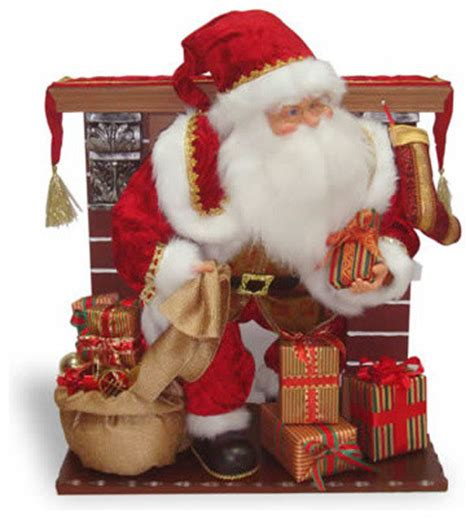 28 in fireplace with animated santa christmas decoration