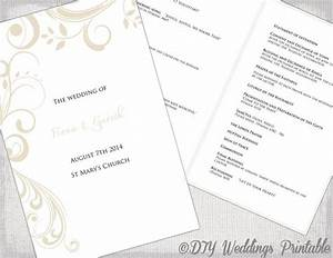 catholic wedding program template champagne scroll With catholic church wedding booklet template