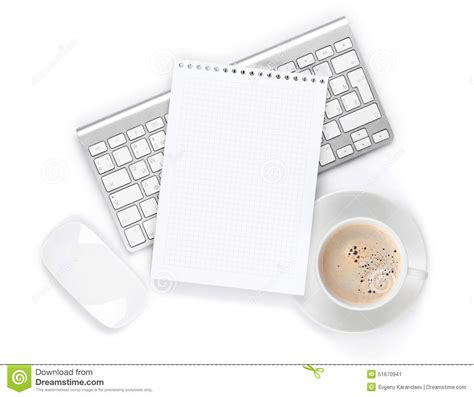 Office Notepad Over Computer Keyboard Mouse Coffee