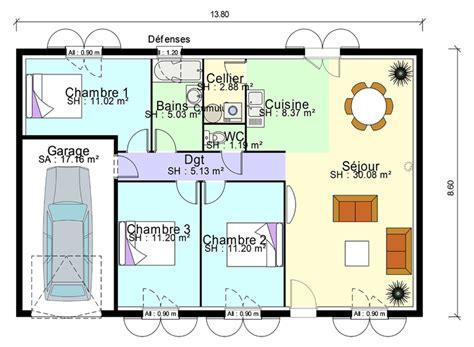 plan age 3 chambres plan de masse de maison avec 3 chambres salon cuisine et