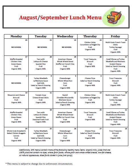 menus golden pond school preschool amp kindergarten 392 | Aug Sept Lunch 2018