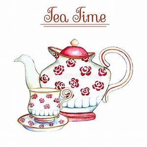 Watercolor teapot and cup. stock vector. Illustration of ...