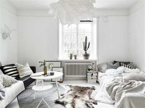 Chic Scandinavian Studio With Lofted Bed :  Ideas For A Small Scandinavian Style Apartment