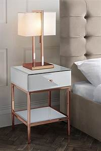 Stiletto Toughened White Glass And Rose Gold Side Table