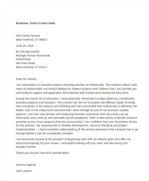 Business Internship Cover Letter Exles by 9 Internship Cover Letter Free Sle Exle Format