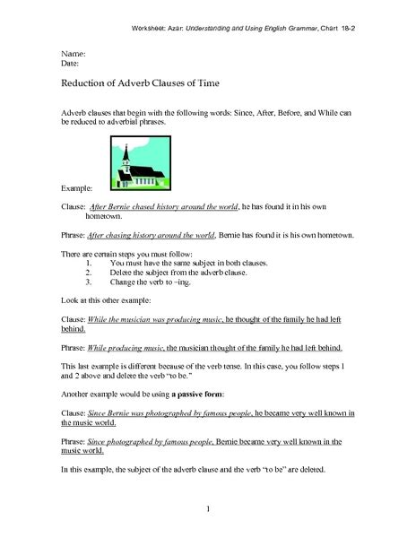 Adverb Clause Worksheet For Grade 7  Adverbs Printable Worksheets Esl Of English Exercises