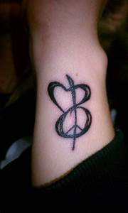 Peace, love, heart, music, cute feminine small wrist ...