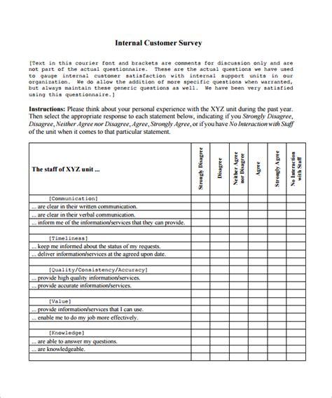 customer survey template 9 customer satisfaction survey template sle templates
