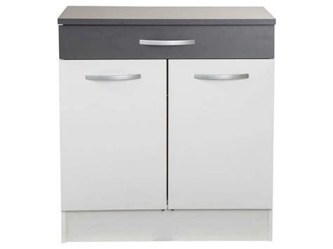 buffet cuisine bas meuble bas 80 cm 2 portes 1 tiroir woody gris