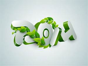 2014 3D Green Leaves Design Vector Free Vector Graphic