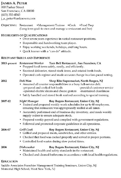 Cv Format For Cook by Resume Sle Restaurant Management Trainee Or Cook