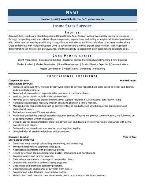 sales support resume  template
