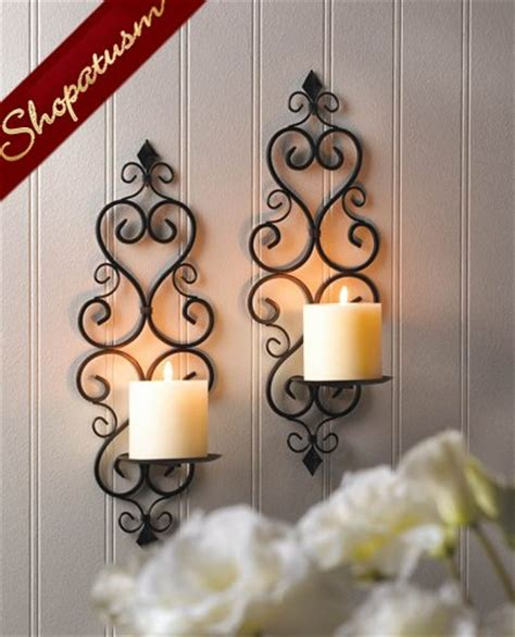 continental style black metal candle holders pillar wall