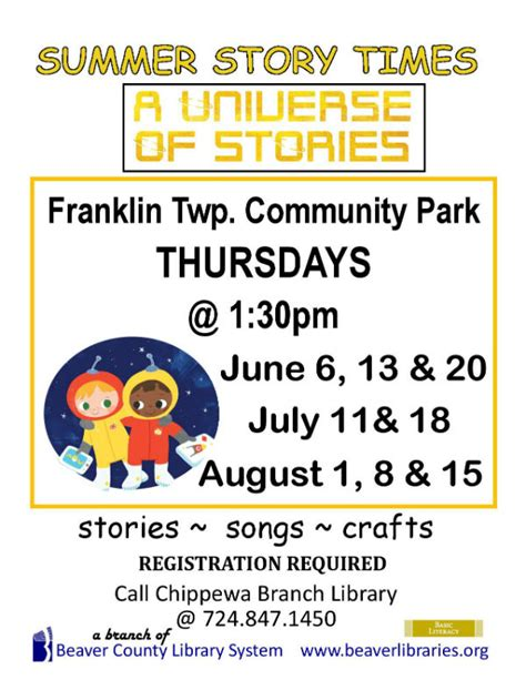 a universe of stories comes to franklin township ellwood 701 | SUMMER STORY TIME FRANKLIN 2019 page 001