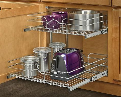 pull out baskets for kitchen cabinets kitchen shelf 2 tier metal pull out cabinet basket