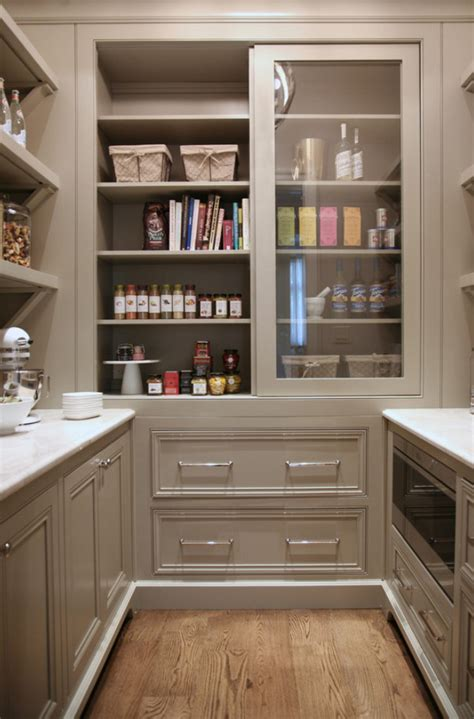 Pantry Cabinet Design Ideas by Warm White Kitchen Design Gray Butler S Pantry Home