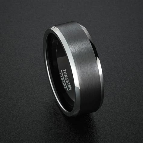 tungsten wedding band mens ring black tungsten rings