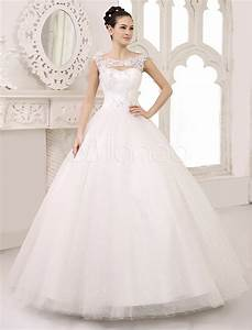 ivory ball gown scoop neck ruched floor length brides With milanoo wedding dresses