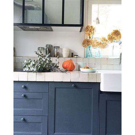 peinture meuble cuisine chene cuisine bleue maison